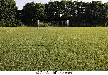 Brightly Lit Soccer Net - A soccer net with shot in bright...