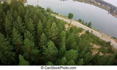Nature from bird's-eye. - Deep forest and river from...