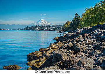 Shoreline And Rainier - A view of Mount Rainier from Ruston,...