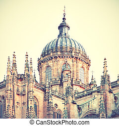 Cupola of The New Cathedral in Salamanca, Spain Retro style...