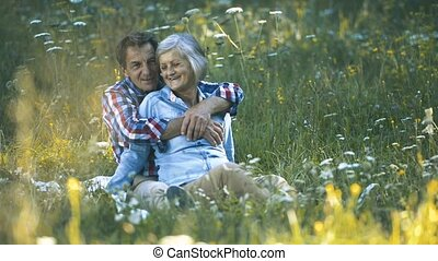 Beautiful senior couple sitting on summer meadow. -...