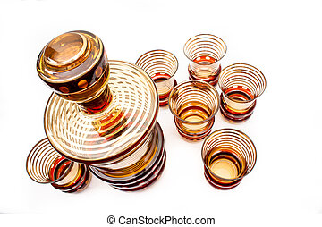 Vintage Decanter Set - SEt of Vintage barware glasses and...