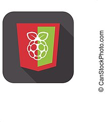 vector illustration of red and green html5 shield with white...