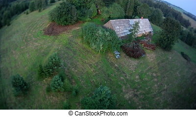 Countryside aerial view. - Countryside with an ancient house...