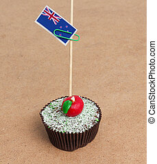 Flag of New Zealand on cupcake
