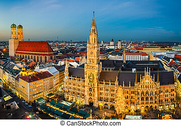 Marienplatz and Christmas market in Munich, Germany - Night...