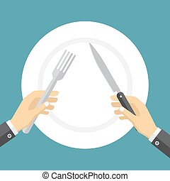 Empty plate and hands holding knife and fork. - Empty plate...