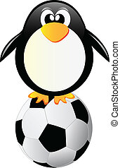 penguin with soccer ball isolated on white background