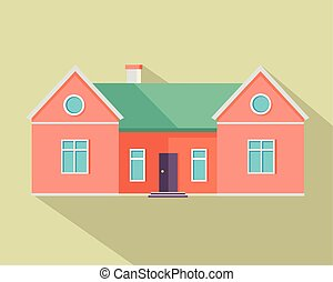 Happy House with Terrace Banner Poster Template. - Happy red...