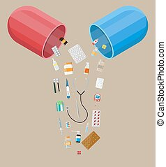 capsule with different pills and medical devices