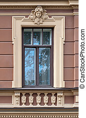 Window with by moldings.