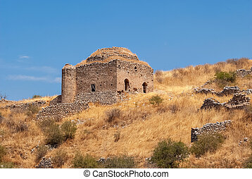 Acropolis of Corinth. - Ruins of an ancient temple fortress...