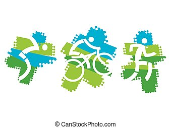 Triathlon icons - Cyclist, swimmer and runner icons on the...