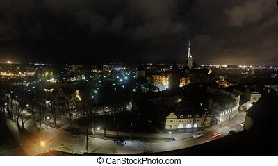 Time lapse of Tallinn old town from Patkul lookout at night