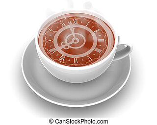 Cup with clock. 3d - Cup with clock. Eight o\'clock 3d