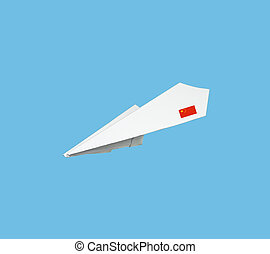 Plane made from paper with flag. Isolated on blue...