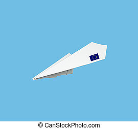 Plane made from paper with flag Isolated on blue background...