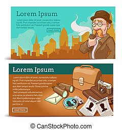 Detective Agency Horizontal Banners - Detective agency...