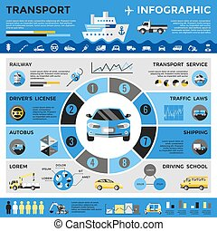 Transport Colored Infographics - Transport colored...