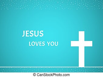 christian cross on blue background - White christian cross...