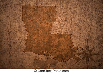 louisiana state map on a old vintage crack paper background