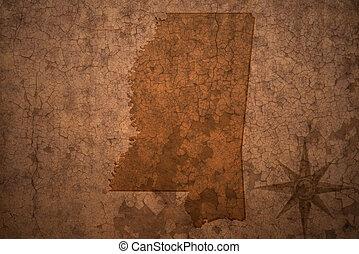 mississippi state map on a old vintage crack paper...