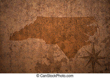 north carolina state map on a old vintage crack paper...