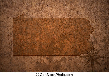 pennsylvania state map on a old vintage crack paper...