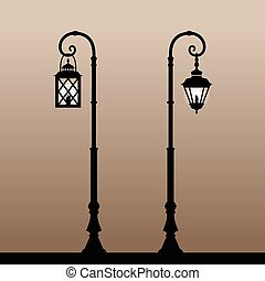 Vintage lanterns. Silhouette of an old lantern with a...