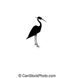 Graphic symbol heron isolated on white background for design