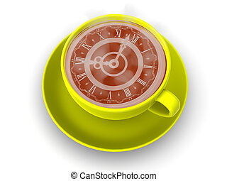 Cup with clock. Eight o\'clock 3d