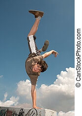 Parkour - Teenager carries out dangerous exercises