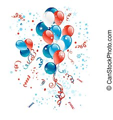 Blue, red and white balloons