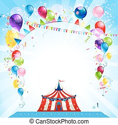 Festive bright card with tent
