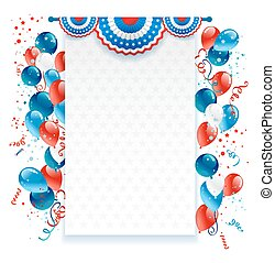 Holiday background with balloons, decorations and confetti....