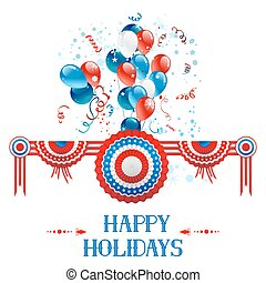 Happy holiday card with decorations and balloons for...