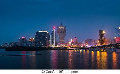 Skyline of Macau city at Nam Van Lake, China The city...