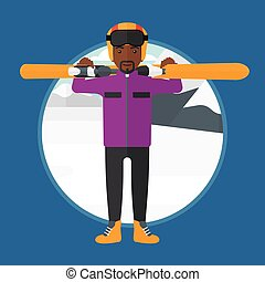 Man holding skis vector illustration - An african-american...
