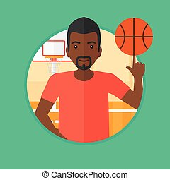 Vectors Illustration of Basketball Player Rebounding Ball Circle ...