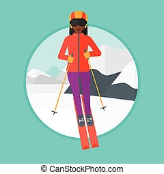Young woman skiing vector illustration - An african-american...