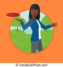 Woman playing flying disc vector illustration. - An...