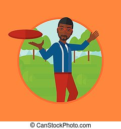 Man playing flying disc vector illustration. - An...