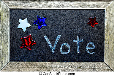 Vote surrounded by red, white and blue stars. Symbolize...