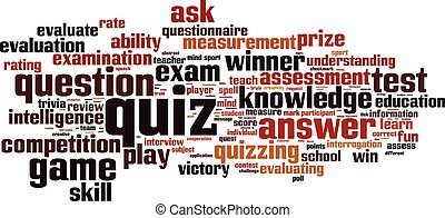 Quiz-horizon - Quiz word cloud concept. Vector illustration