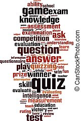 Quiz-vertical.eps - Quiz word cloud concept. Vector...