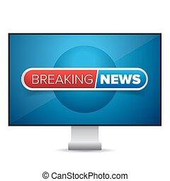 Breaking news TV screen vector