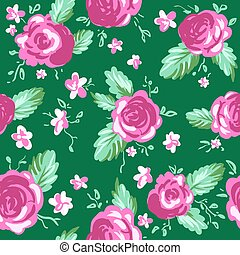 Roses ornament on green background