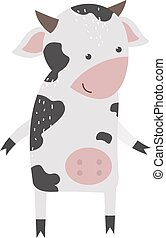 Cartoon cow character isolated - Milk cow bull buffalo...