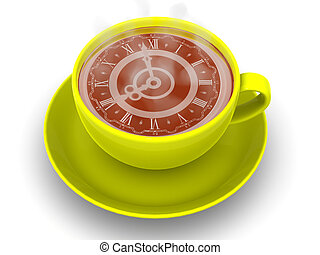 Cup with clock Eight oclock 3d
