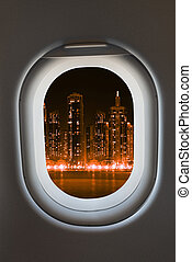 Airplane window from interior of aircraft - Airplane window...